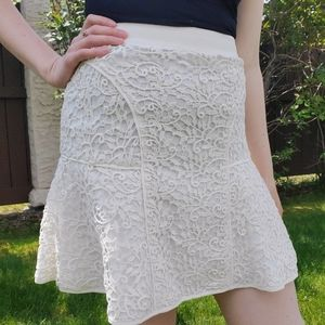 Rebecca Taylor white crochet mini skirt